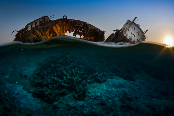 The wreck of the Louilla at sunset
